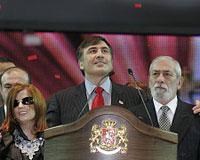 Михаил Саакашвили, Вахтанг Кикабидзе и Диана Гурцкая на съезде правящей партии. Фото: Александр Климчук